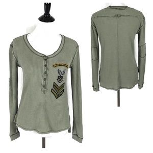 We the free waffle knit Henley top patches green